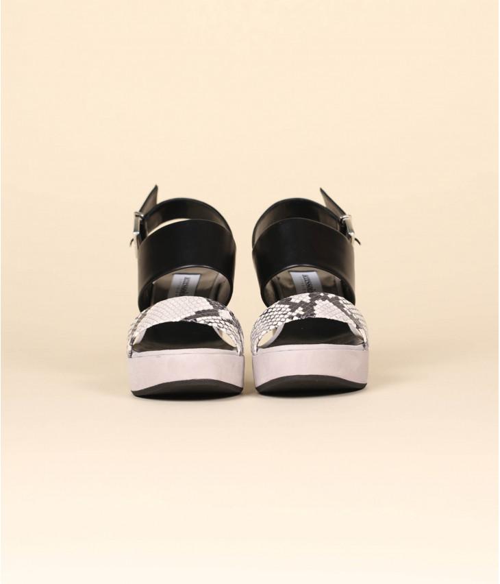 sandales accessoire cuir nappa et chevreau velours